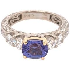 Oval Tanzanite Diamond White Gold with Yellow Gold Basket Ring