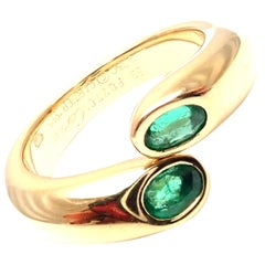 Cartier Emerald Ellipse Deux Tetes Croisees Yellow Gold Bypass Ring