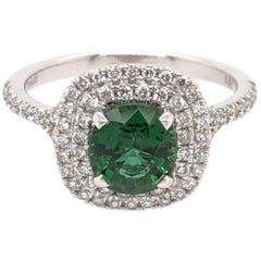 Oval Green Chrome Tourmaline and White Gold Ring