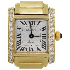 "Geneve ""Tank"" Diamond Bezel Watch"