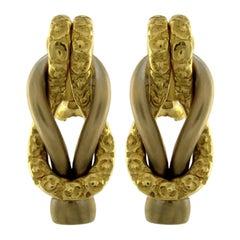 Chiselled Earrings Gold 18 Karat