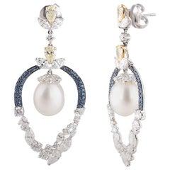 Studio Rêves Diamonds Pearls and Blue Sapphire Dangling Earrings in 18K Gold