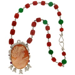 Cameo 14 Karat White Gold Coral Pendant Necklace