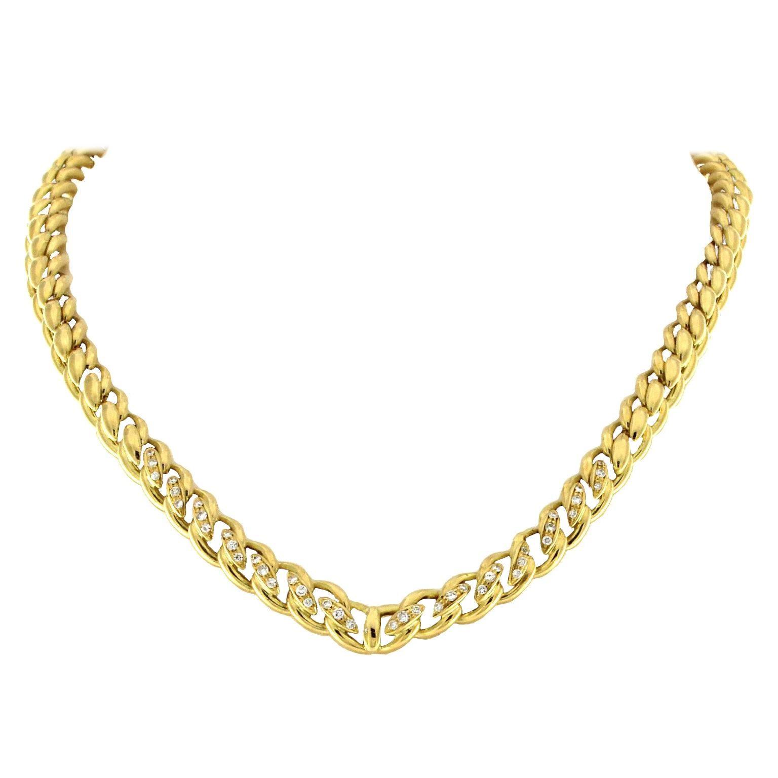 18 Karat Yellow Gold Groumette Necklace with Diamonds