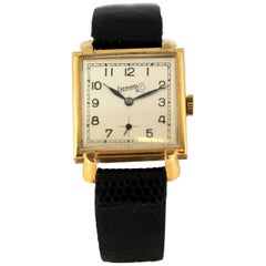 Vintage Men's Eberhard Wristwatch Set in 18 Karat Yellow Gold