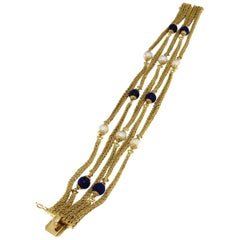 18 Karat Yellow Multichain Bracelet with Pearls and Lapis