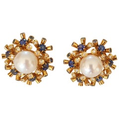 Pearl, Diamonds and Sapphire Clip and Pierced Earrings