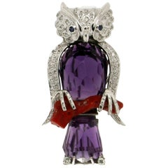 Owl Amethyst 18 Karat White Gold Coral Diamonds Brooch
