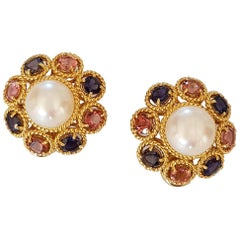 Pearl, Diamonds and Sapphire Clip Earrings