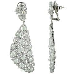 Studio Rêves Rose Cut Diamond Carpet Dangling Earrings in 18 Karat White Gold