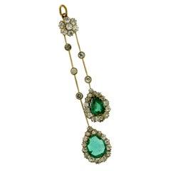 18 Karat Yellow Gold Pendant Diamonds and Emeralds