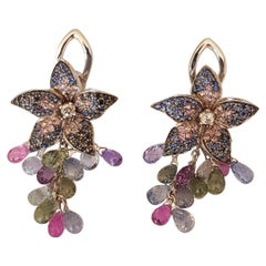 Colored Sapphires Pierced and Clip Flower Earrings with Briolette Drops