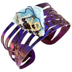 Orsa Maggiore 18 Karat Gold Titanium Hemimorphite Cuff Bracelet