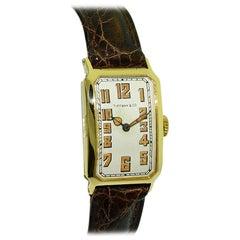 Tiffany & Co. by I.W.C. 18 Karat Gold Art Deco Watch with Original Dial, 1930s