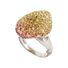 18k White Gold White Pink Diamonds Orange Yellow Sapphires Ring Aenea Jewellery