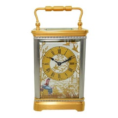 Art Deco Carriage Clock circa 1915 with Exceptional Hand Painted Dial