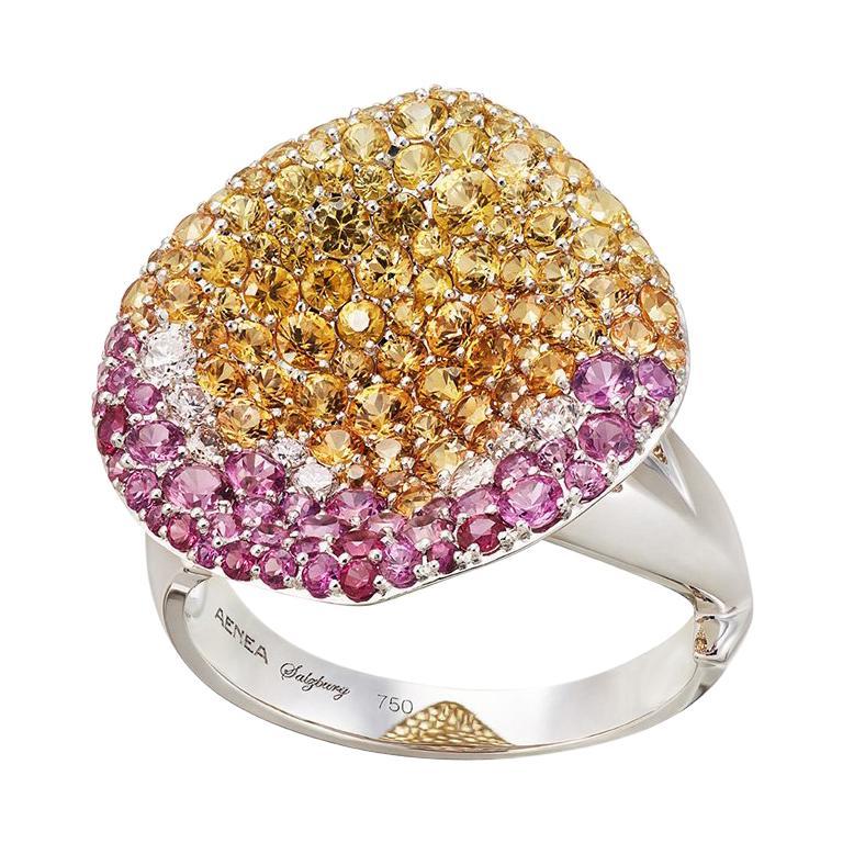 18k White Gold White Diamonds Pink Yellow Sapphires Ring