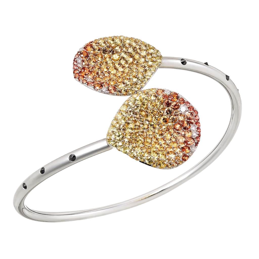 White Gold White Pink Diamonds Orange Yellow Sapphires Bangle Aenea Jewellery
