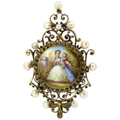 Antique Victorian 15k gold pendant with enamel painting, diamonds & pearls
