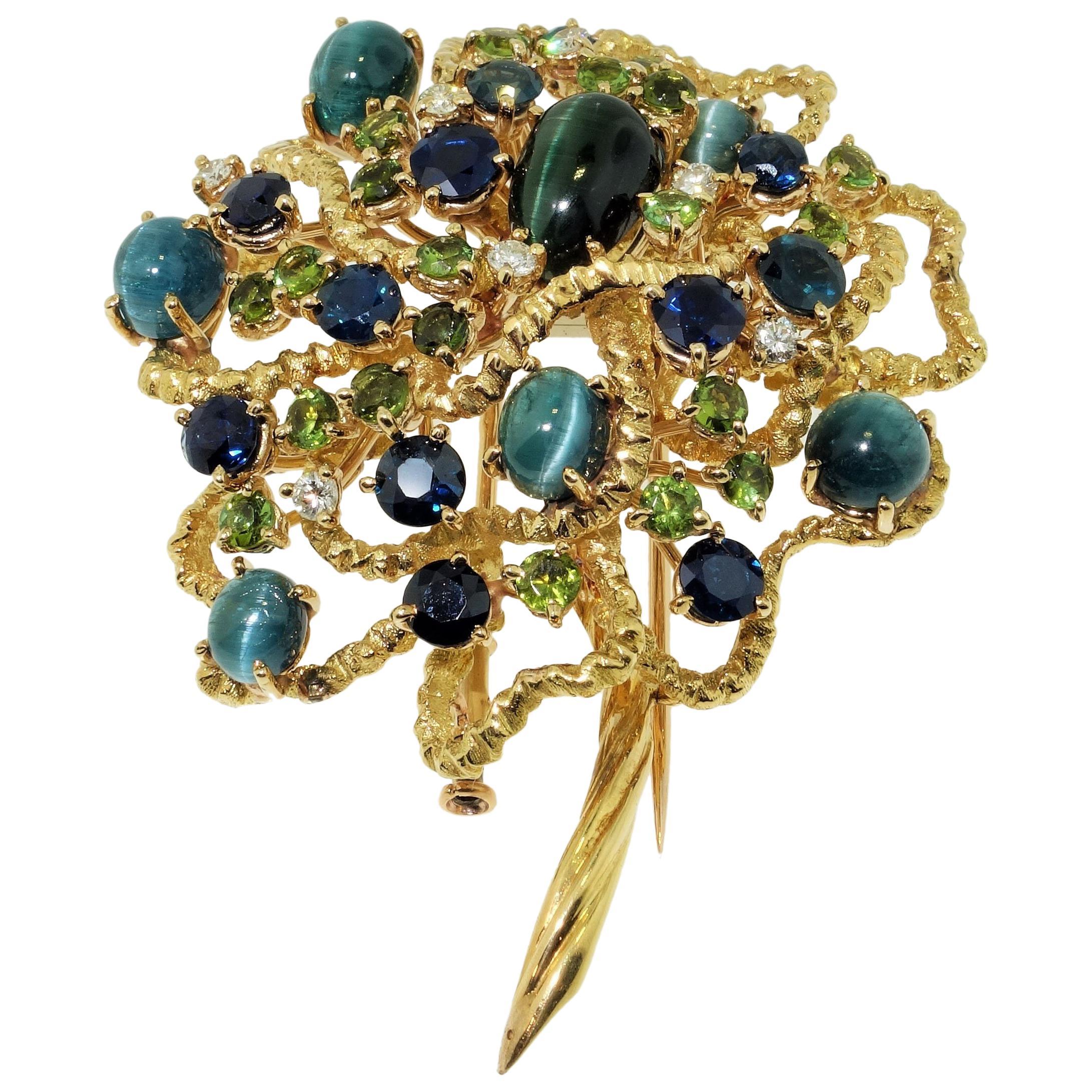 Antique Tourmaline Sapphire and Diamond 18K Gold Brooch Pin Estate Fine Jewelry
