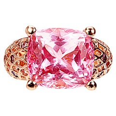 Yemyungji Kunzite Cushion Cut 14.11ct 18 Karat Rose Gold Cocktail Ring