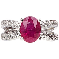 Yemyungji Burma Ruby Oval Cut 2.37ct Diamond 18 Karat White Gold Solitaire Ring