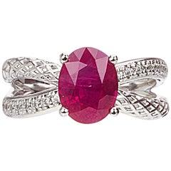 Yemyungji Burma Ruby Oval Cut 2.37ct Diamond 18 Karat White Gold Solitaire Ring