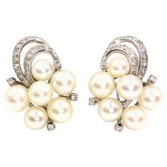 White Gold Diamond and Pearl Edwardian Inspired Earrings