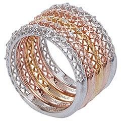 Yemyungji Diamond 18 Karat Yellow White Rose Gold Eternity Ring Layering Set