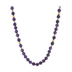 Vintage Amethyst Bead Necklace 14 Karat Yellow Gold Estate Fine Jewelry