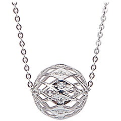 Yemyungji Diamond 18 Karat White Gold Millennium Ball Pendant Chain Necklace