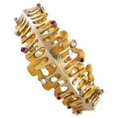 1960s Erich Strotmann Modernist Diamond, Ruby and Gold Bracelet