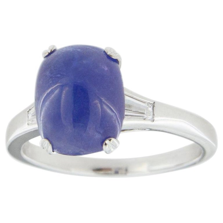 Jona Cabochon Tanzanite White Diamond 18 Karat White Gold Solitaire Ring For Sale