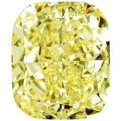 GIA Certified 4.02 Natural Fancy Yellow Cushion Cut Diamond VVS2