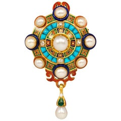 Antique Holbeinesque Gold and Enamel Brooch with Pearls, Turquoise, and Diamonds