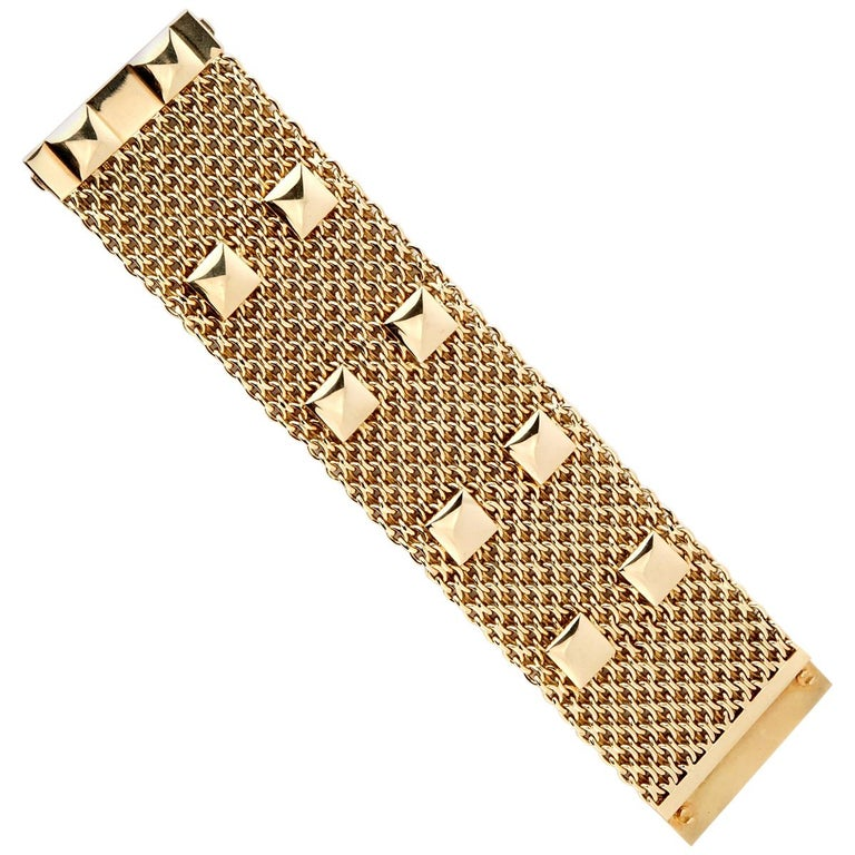 Hermes Collier De Chein Mesh Gold Bracelet For Sale