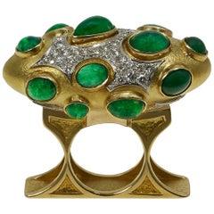 1968  Unique Gabriel Lucas Emerald, Diamond, Gold Ring