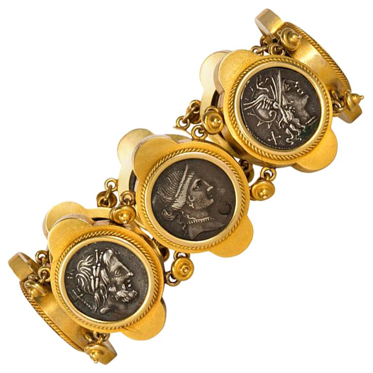 Antique Italian Gold Bracelet Set with Ancient Roman Silver Coins For Sale