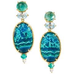 Daria de Koning Emerald, Topaz, Chrysocolla-in-Malachite, and Aquamarine Earring