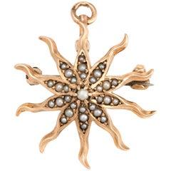 Antique Victorian Starburst Pendant Brooch Vintage 10k Gold Pearl Celestial Sun