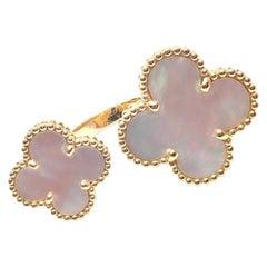 Van Cleef & Arpels Magic Alhambra Mother of Pearl Between Finger Gold Ring