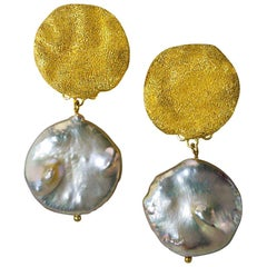 Pearl Sterling Silver Gold Textured Drop Dangle Clip-On Earrings