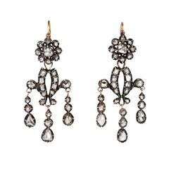 Early 19th Century Rose-Cut Diamond Girandole Style Earrings