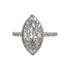 Marquise Cut Diamond Engagement Ring 2.88 Carat 14 Karat
