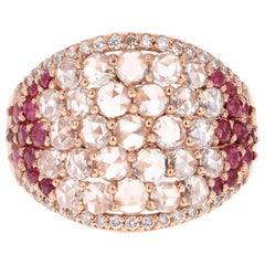 2.47 Carat Ruby Rose Cut Diamond 18 Karat Rose Gold Cocktail Ring