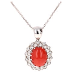 6.25 Carat Coral and Diamond 14 Karat White Gold Chain Necklace