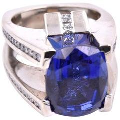 Gauthier 14 Karat White Gold Tanzanite and Diamond Ring