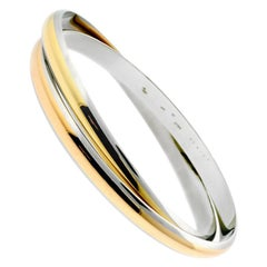 604d34d8359c6 Cartier Panthere Stainless Steel Tricolor Gold Bangle Bracelet at ...