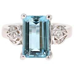 4.33 Carat Aquamarine Diamond 18 Karat White Gold Cocktail Ring