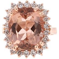 11.27 Carat Morganite Diamond 14 Karat Rose Gold Cocktail Ring